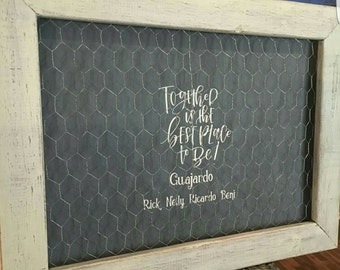 Personalized picture frame with chicken wire.