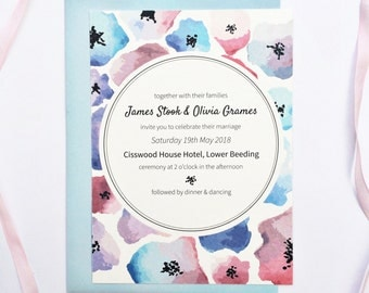 Poppy Watercolour Wedding Stationary Set - save the dates, invitations and more!