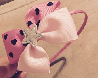 Pink lover's bow Head Band