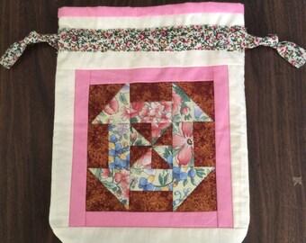 Patchwork drawstring bag - handmade