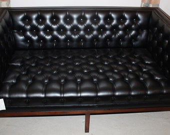 Sophisticated Solid Mahogany Tufted Danish Modern Style Settee Sofa MINT