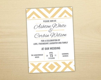 Geometric Square Wedding Invitation