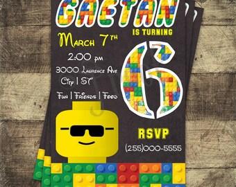 Lego Head Birthday Invitation - Digital Download