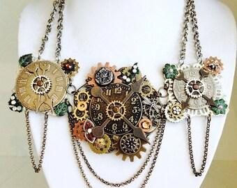 Steampunk Clock Gear Necklace, Watch Gear, Statement Necklace, Goth Jewelry