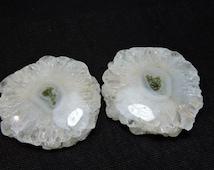 2 Pieces Extremely Beautiful Natural Solar Quartz Stalactite Slice Beads, Druzy Slice Beads Loose Gemstone Size 48X48 MM