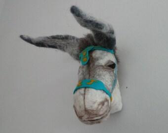 Felt sculpture taxidermy - personalised Beach donkey.