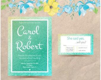 Turquoise Wedding Invitation - LoveNerverFailsShop