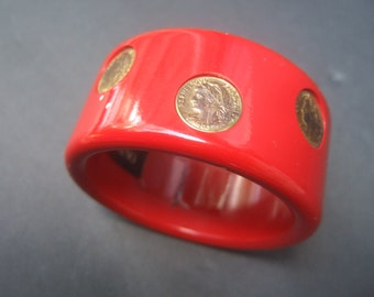 Neiman Marcus Red Plastic Gilt Coin Cuff Bracelet