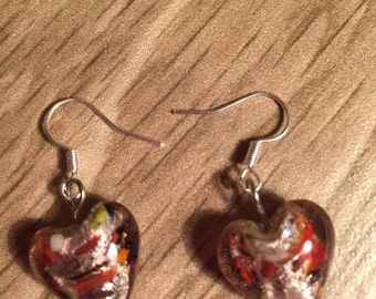 Heart bead earrings, dangle, glossy, dainty, heart, multi coloured, reds, browns,