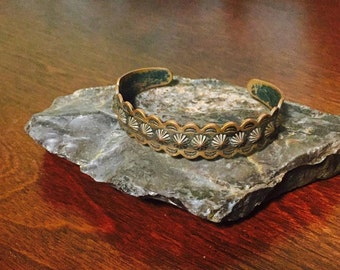 Vintage Stamped Copper Bracelet