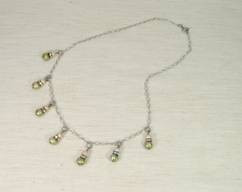 Pearl Necklace,  Pearl Necklace with chain, Green Pearl Necklace