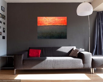 "Original oil painting ""Red X"", Abstract, Modern design on Gallery wrapped canvas, Landscape, Horizon, Wall art"