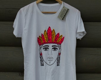 Wild girl. White t-shirt with colorfull handprinted patter.