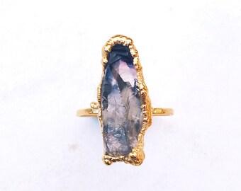 Rough Amethyst Ring, February Birthstone, Stacking Gemstones, Raw Gemstone Ring, 24k Gold Ring, Purple Stone Ring, RINGCRUSH, Boho Rings