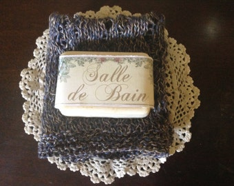 100% Linen Hand Knit Lace Washcloth and Soap Gift Set