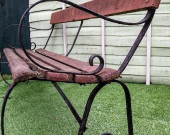 Victorian Antique Vintage Cast Wrought Iron Garden Railway Cricket Patio Bench Strapwork Arms