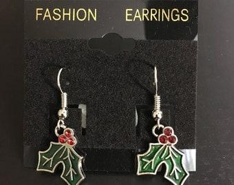 Holly leaf with crystal berries earrings