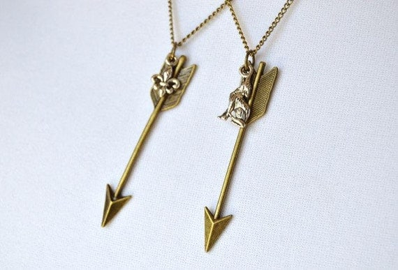 bronze arrow necklace wolf or fleur de lis charm allison