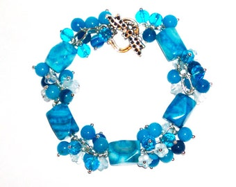 Sky Blue Bracelet Sky Blue Jewelry Beaded Bracelet Charm Bracelet Gemstone Bracelet Bracelet for Women Fashion Jewelry Gift for Her
