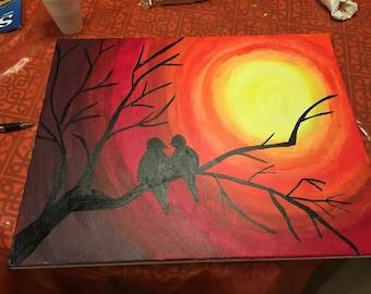 16 x 20 Love Birds Adoring the Sunset Acrylic Painting