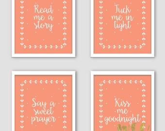 Nursery wall decor - Baby girl nursery - Read me a story - Coral nursery - Trendy nursery decor - Nursery pictures - Girl room decor