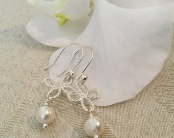 White Freshwater Pearl Earrings, Pearl Earrings, Wedding Earrings, Sterling Silver Earrings, Bridal Earrings, Bridesmaid Gift