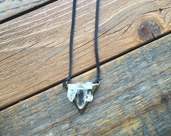 Long Quartz and leather triangle necklace