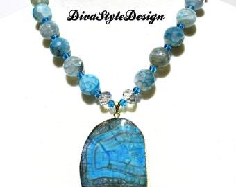 Sky Blue Agate Necklace