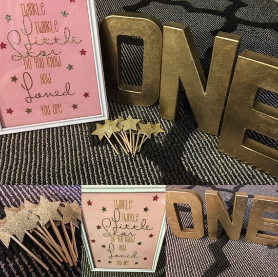 Twinkle Twinkle Little Star Glitter Framed Quote/ Art and Glitter Star Cupcake Toppers