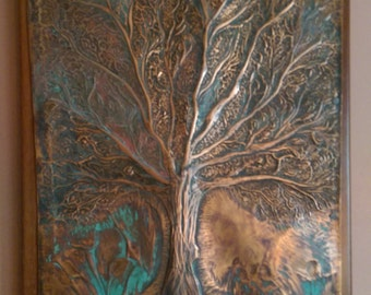 Wall art,hammered cooper with cold patina,on red wood nailed.