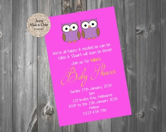 Pink and Purple Owl Baby Shower Invitation