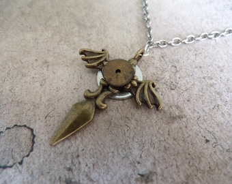 Steampunk Gothic Handcuff Cross Choker Necklace