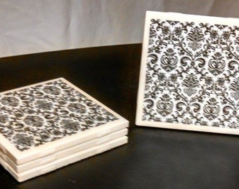 Paisley Ceramic Coasters - set of 4