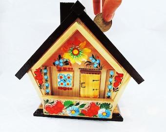Wooden piggy bank - Large piggy bank - Hand painted piggy bank - Flower piggy bank - House piggy bank - Piggybank