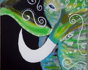Lucky Green Elephant Painting