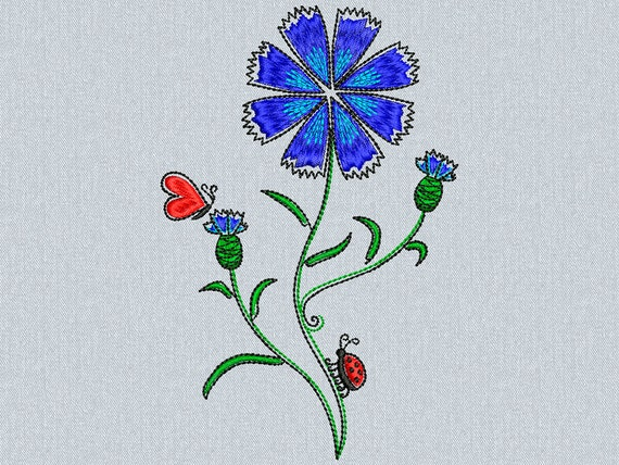 Сornflowers with butterfly and ladybug - Machine embroidery design - 2 sizes for instant download