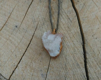 Gold Dipped Clear Quartz Drusy Pendant