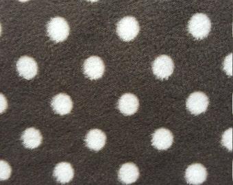 Brown and White Polka Dot Print Fleece Fabric by the yard