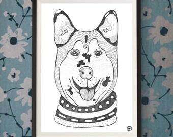 Siberian Husky Dog A4 A5 illustration, print, art, art print, drawing, dog print, dog drawing, husky bulldog illustration, husky drawing