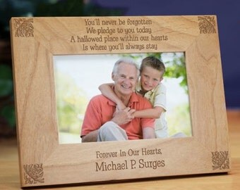 Personalized Memorial Wood Picture Frames - Personalized Never Forgotten Sympathy Photo Frame Gift
