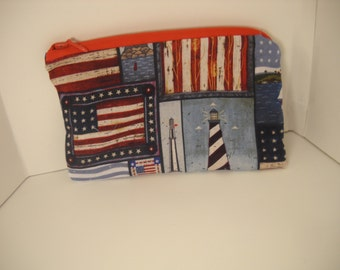 American Pocket Purse with Red Zipper