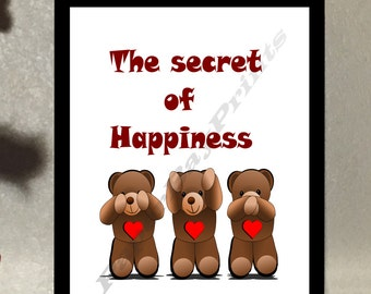 Printable Art Design. Three Wise Monkeys, Teddy Bear Picture. Print at Home Poster for Instant Download.