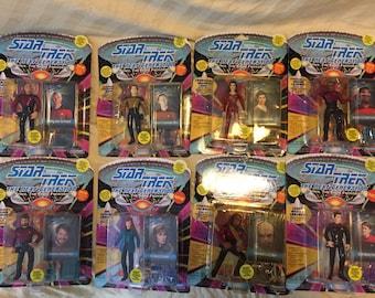 Playmates Star Trek TNG figures Picard, Riker, Data, Dr. Crusher, Worf, LaForge, & Cadet Crusher