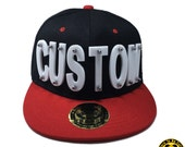 Customize Acrylic Letters Hat, Black Hat With Red Brim With Customize Letters