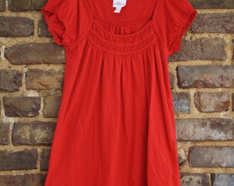 Scoop Neck Puffed Sleeve Top Red