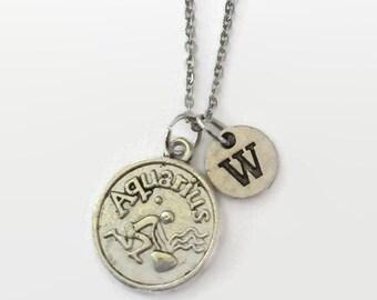 Aquarius Zodiac Jewelry - Aquarius Astrology Jewelry - Aquarius - Aquarius Necklace - Zodiac Jewelry - Christmas in July - Gift Under 15