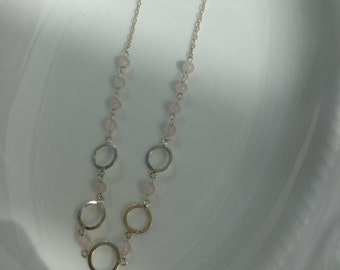 Sterling Silver circles with rose quartz gemstones