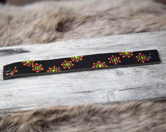 Black genuine leather bracelet with a colorfull handmade pattern