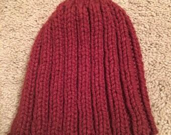 Burgundy Ribbed Hat