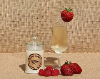 CHAMPAGNE and Strawberries Soy wax candle.Handmade in Australia. Every candle purchased helps support Marine wildlife